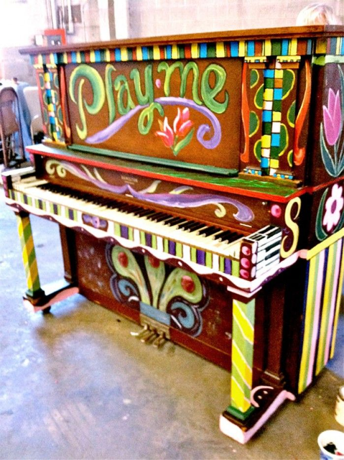 You can go play in the garden Piano painted, installed at