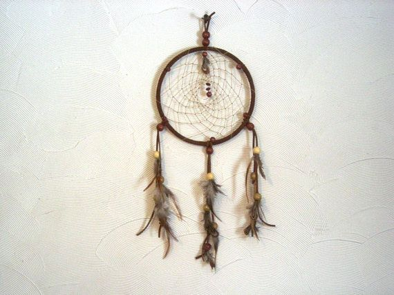 7 inch Brown Dreamcatcher with TriColored by Tinesandtailsoutdoor, $20.00