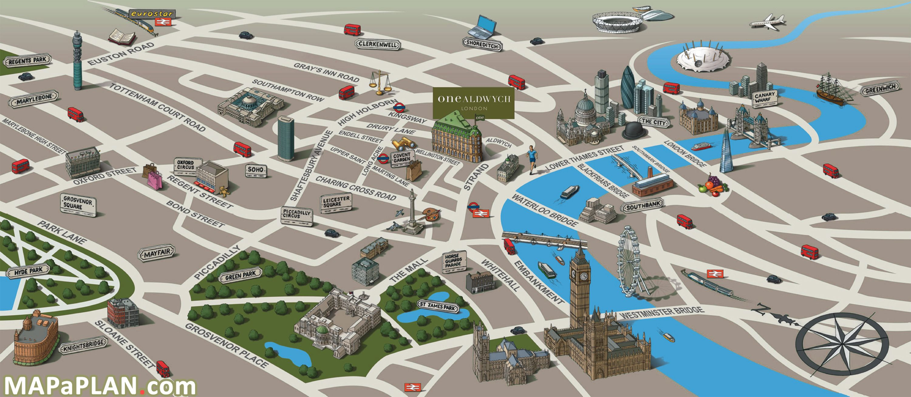 London top tourist attractions map Landmarks birds eye view London