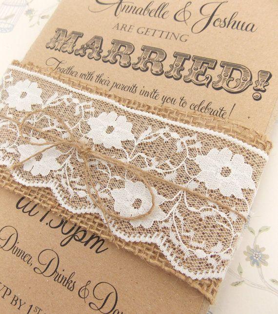 rustic wedding invitation burlap and lace on kraft card with jute twine via etsy