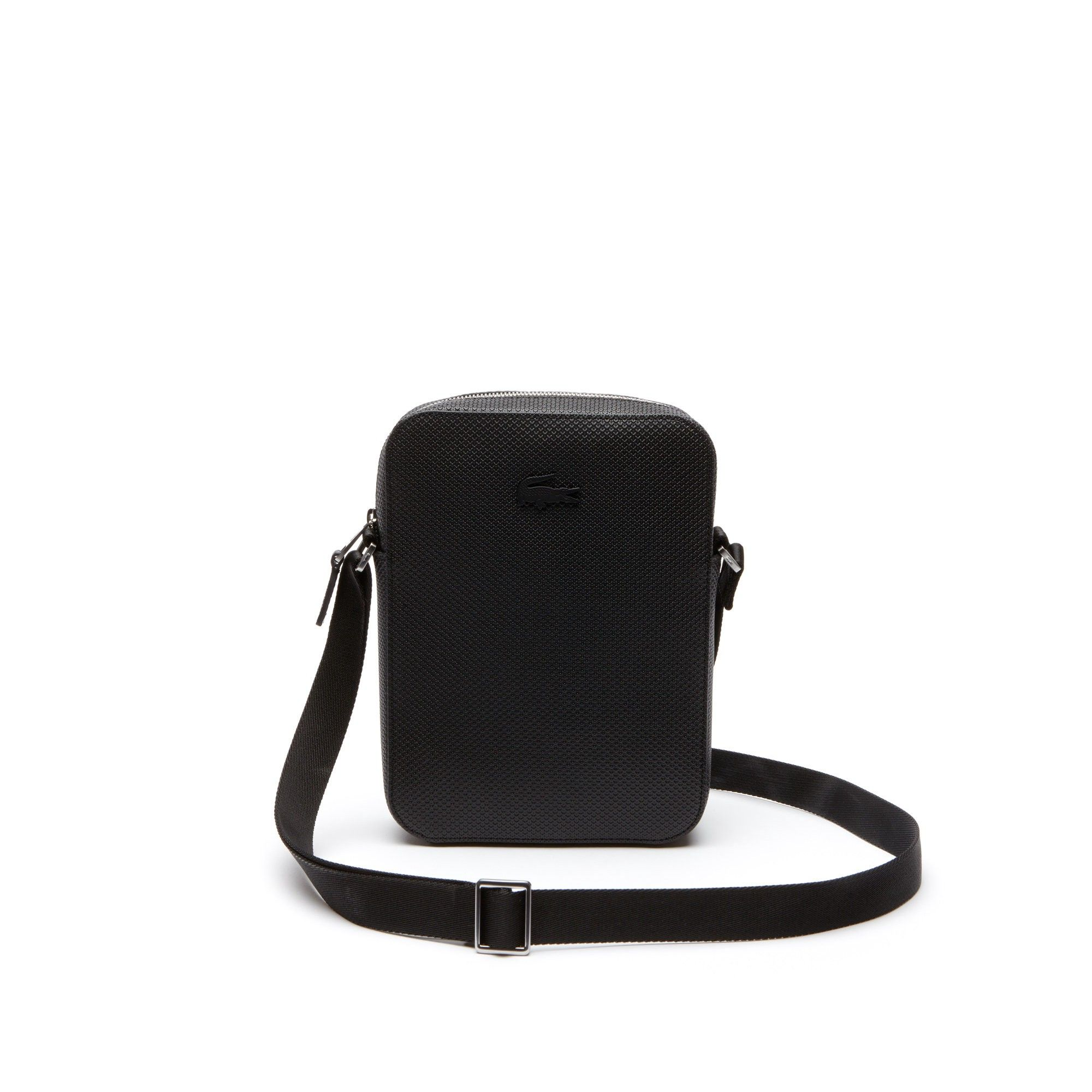 LACOSTE Men s Chantaco Vertical Matte Piqué Leather Bag - black.  lacoste   bags  shoulder bags  leather   17db36623dd8e
