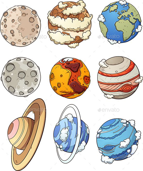 Cartoon Planets And Earth S Moon Vector Clip Art Illustration With Simple Gradients Each In A Separate Layer Eps1 Pegatinas Bonitas Planeta Dibujo Pegatinas