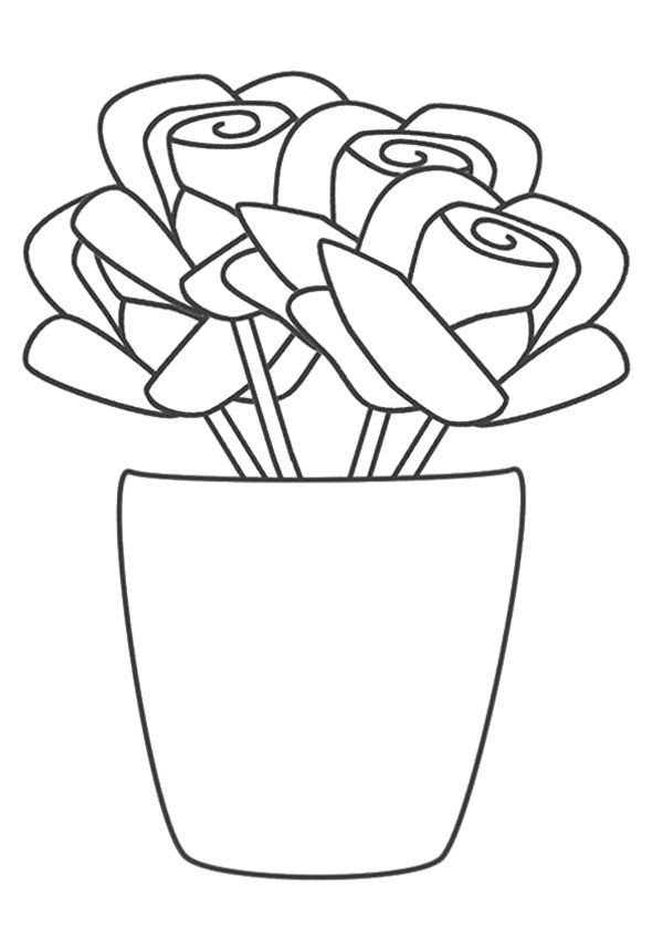 The Rose Vase Flower Coloring Pages 550x778 Picture | AYK World ...