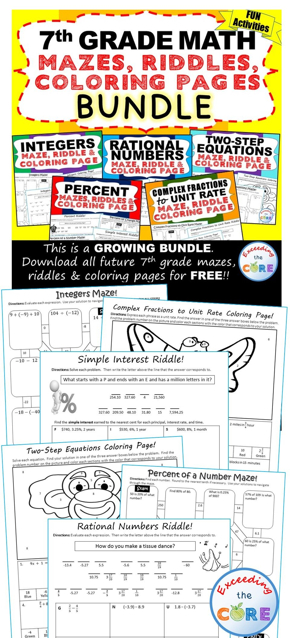 7th Grade Math Mazes Riddles Color By Number Bundle 7th Grade