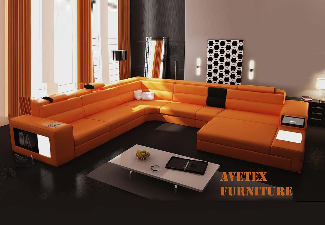 orange couch | rexona orange leather sofa | sectionals | l-i-v-i-n