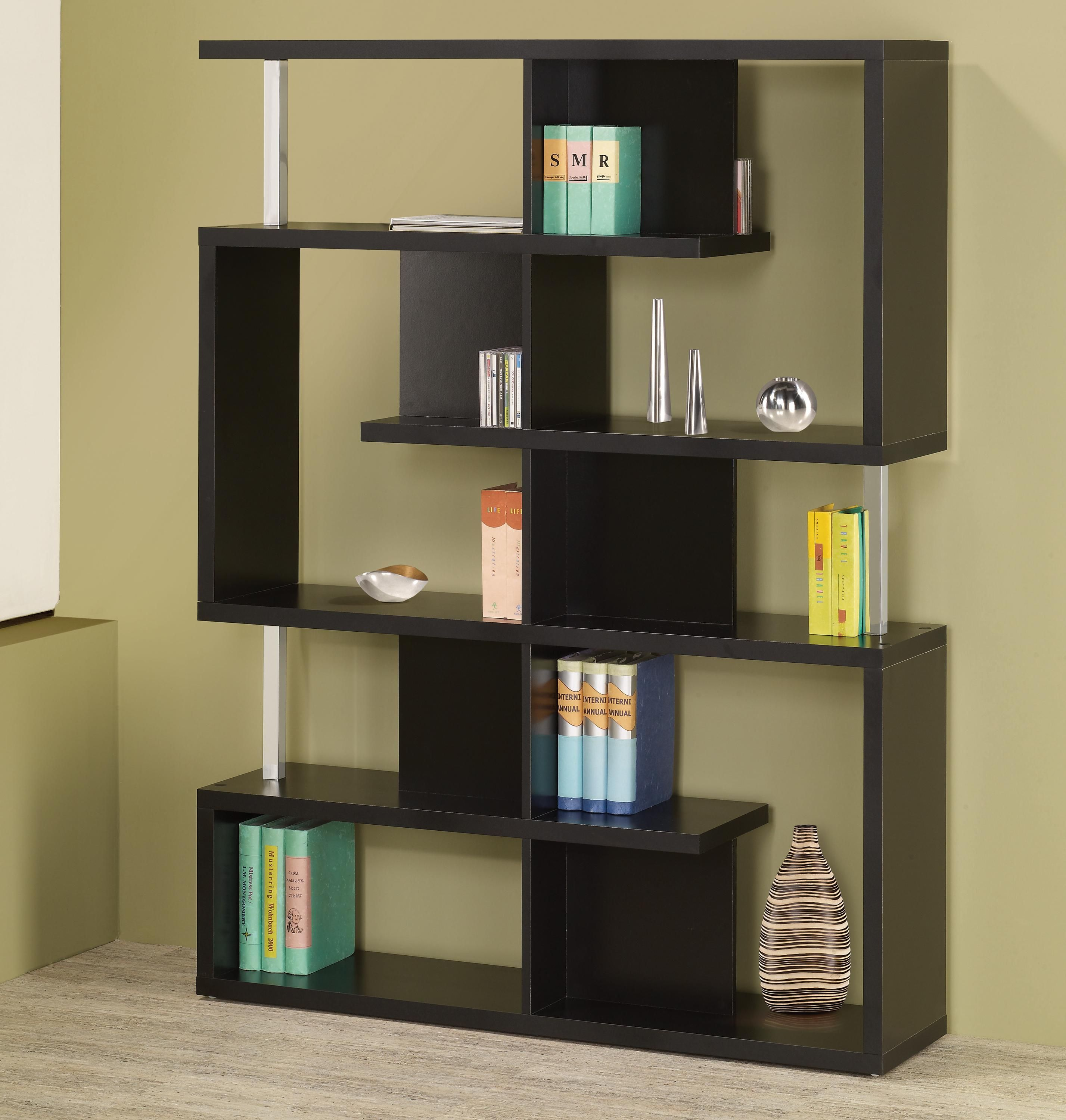 Bookcases Modern Black Finish Bookcase By Fine Furniture Black