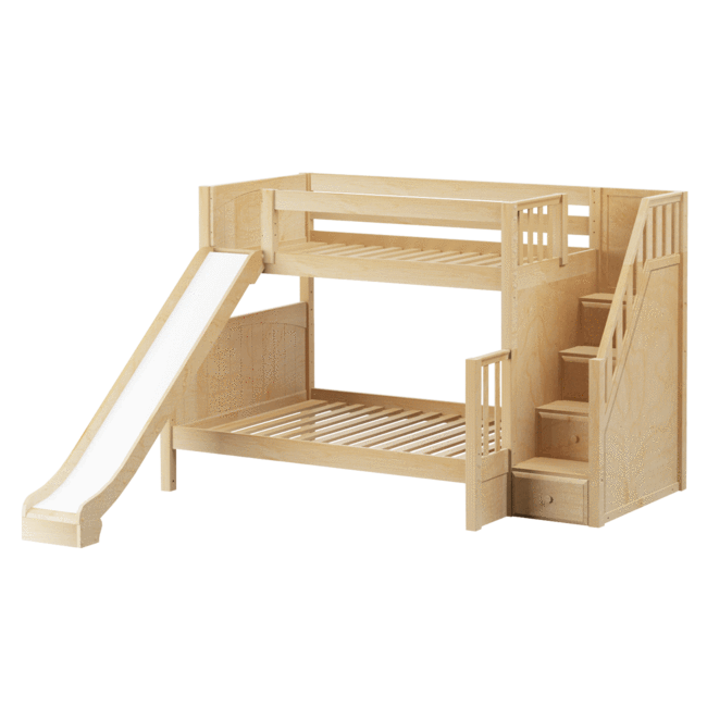 Medium Twin Over Full Bunk Bed With Stairs Slide Bunk Bed With