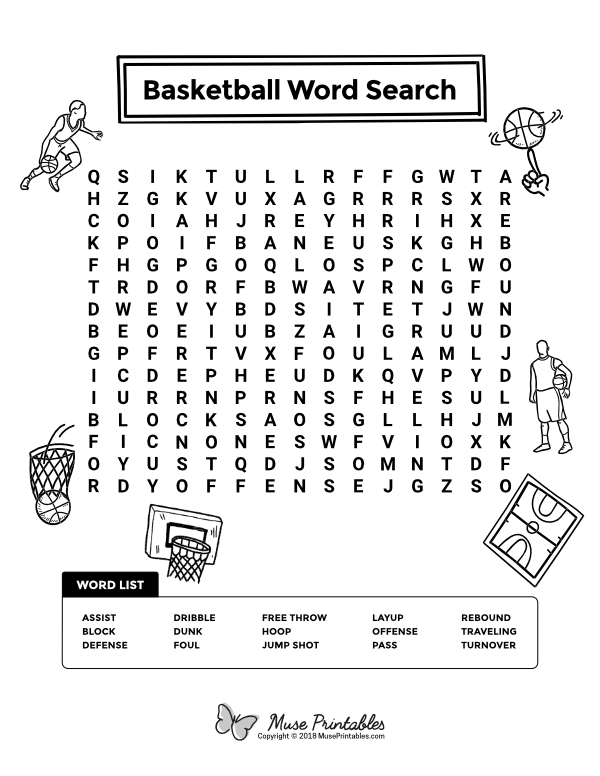 Free printable basketball word search. Download it at ...