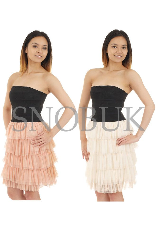Womens Sheering Boob Tube Gather Bandeau Top Summer Mini Dress Strapless Top 1c466dbb6