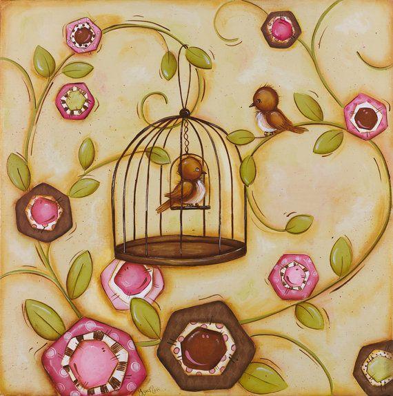 Love Birds Wall Art ~ Songbird ~ Bird Decor Theme ~ Brown Pink ...