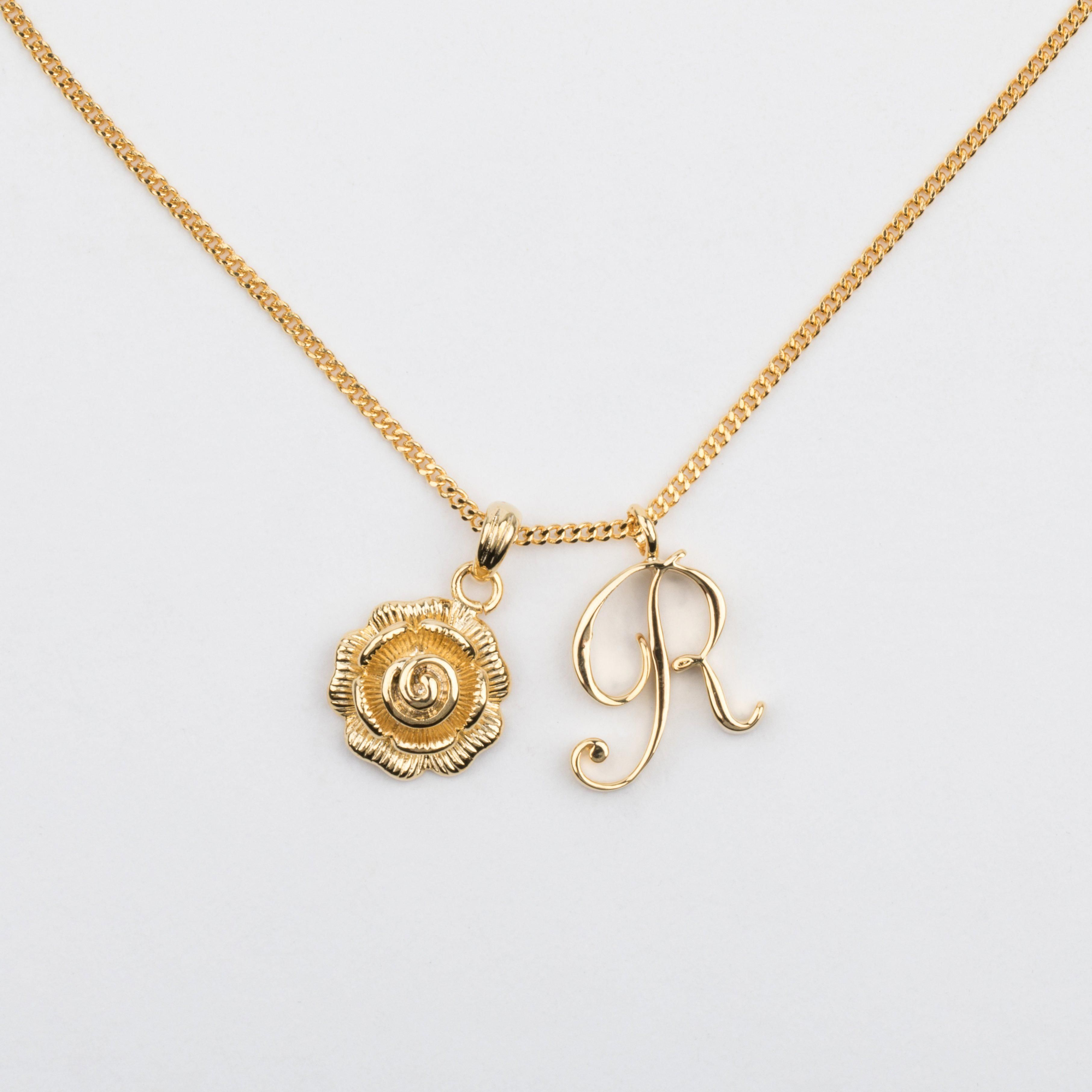 R Initial Necklace With Rose Pendant Initialnecklace Initial Necklace Gold Gold Bar Necklace Initial Necklace