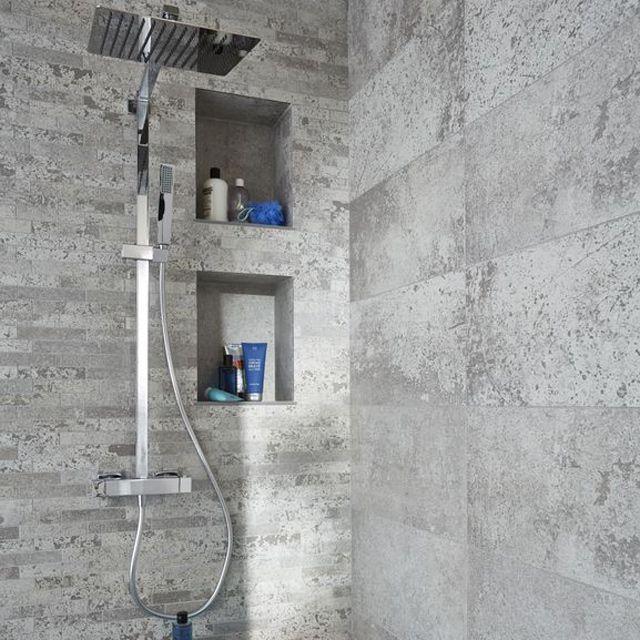 Carrelage mural blanc et gris 30 x 60 cm lappato bianco castorama salle de bain bathroom - Castorama salle de bain carrelage ...