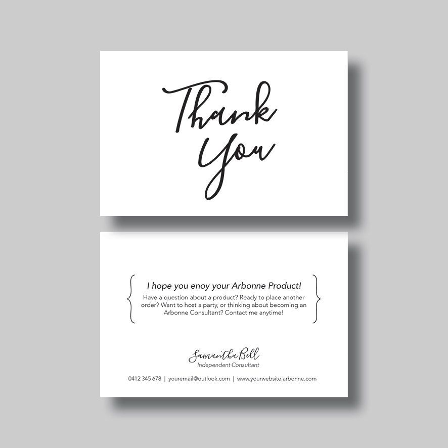 Arbonne Thank You Card (Script) - Digital Design Arbonne, Etsy - business thank you letter