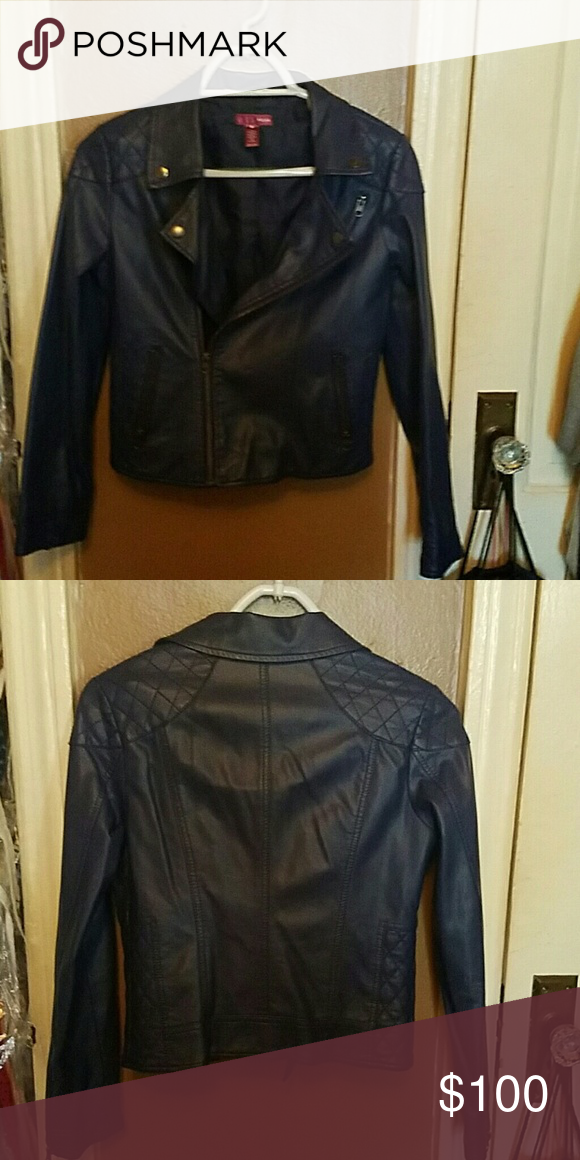 Faux leather jacket Blue Aqua faux leather moto jacket (children size) Aqua Jackets & Coats