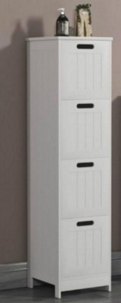 slim bathroom unit 4 drawers storage white wooden cabinet hallway