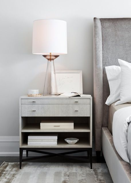 Elizabeth Metcalfe Interiors White Modern Nightstand With Black