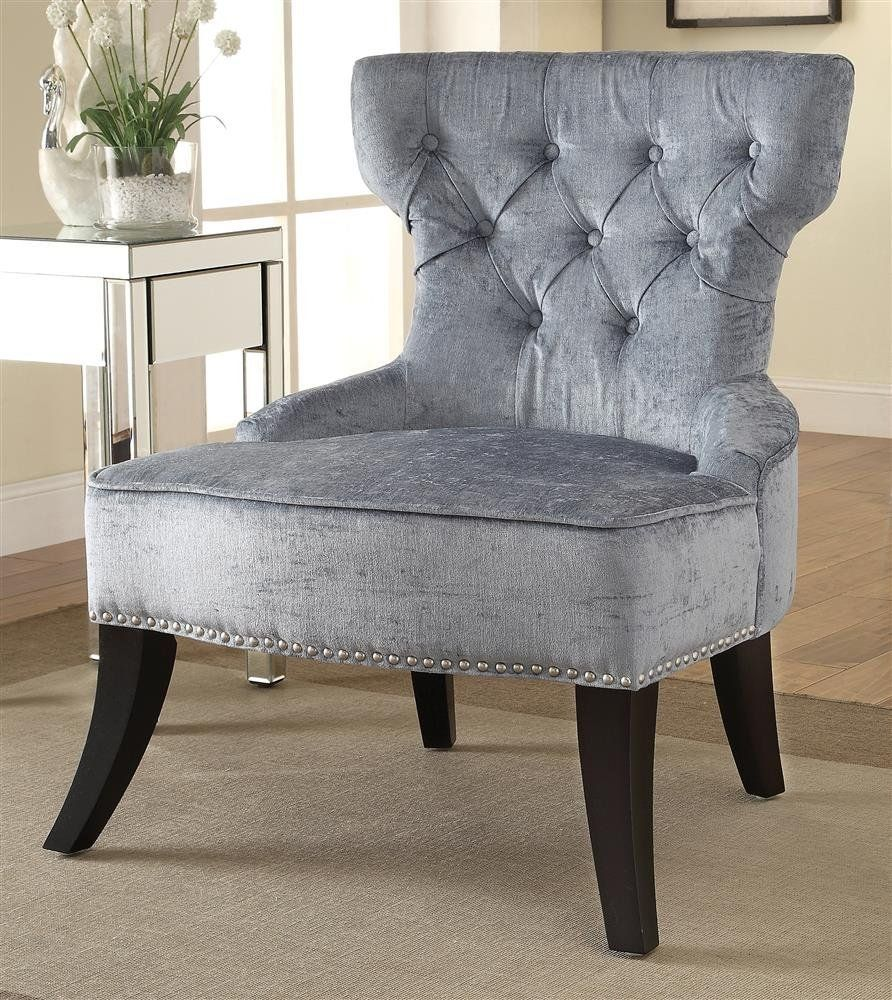 Amazon.com - Button Tufted Chair in Sea Blue -