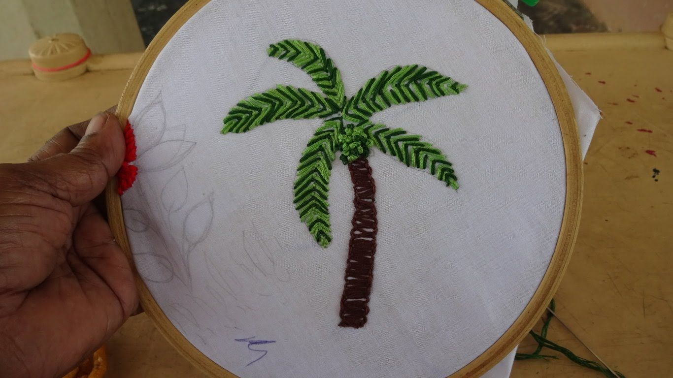 Hand Embroidery Video: Coconut Tree Stitching by Amma Arts