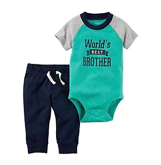 Carter's® Baby Boys' 2-Piece Worlds Best Brother Bodysuit And Pant Set