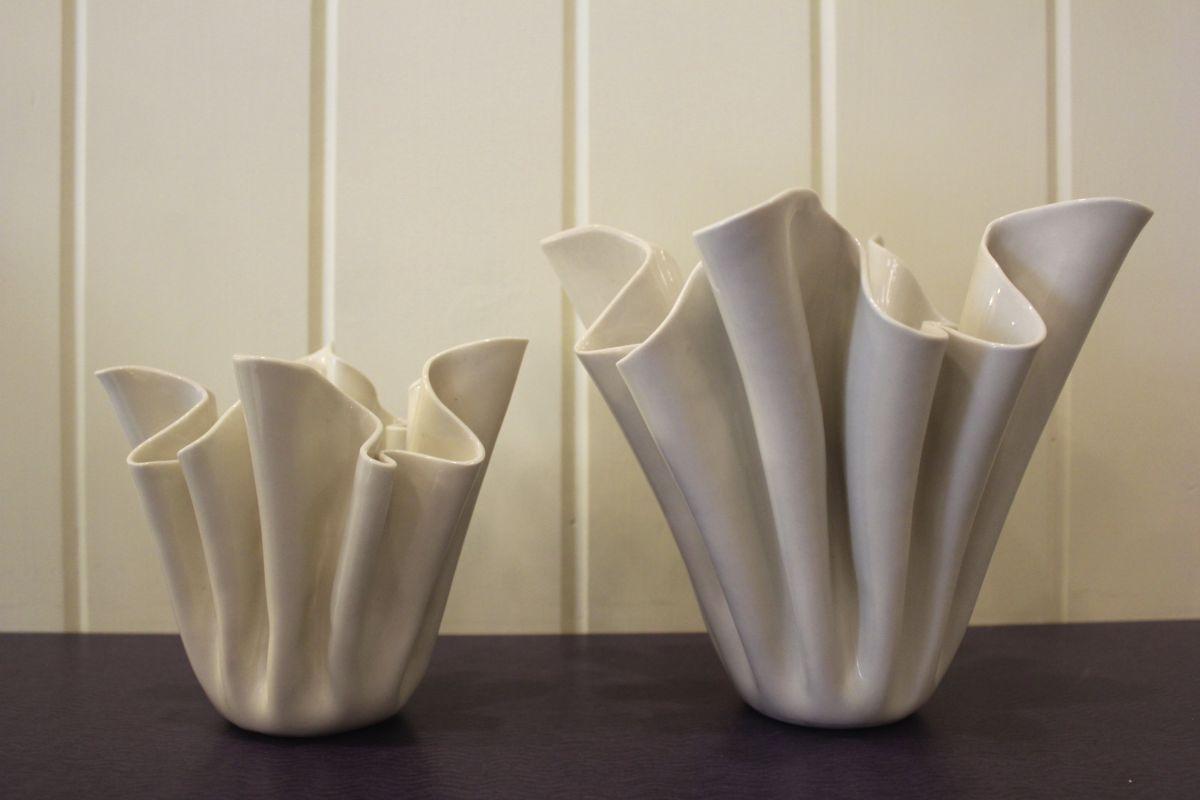 Carol Barclay folded, porcelain vases from Nan Gunnett & Co in Hummelstown, PA