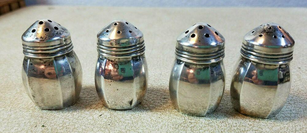 Vintage Sterling Silver Art Deco Individual Salt /& Pepper Shakers Set of 4
