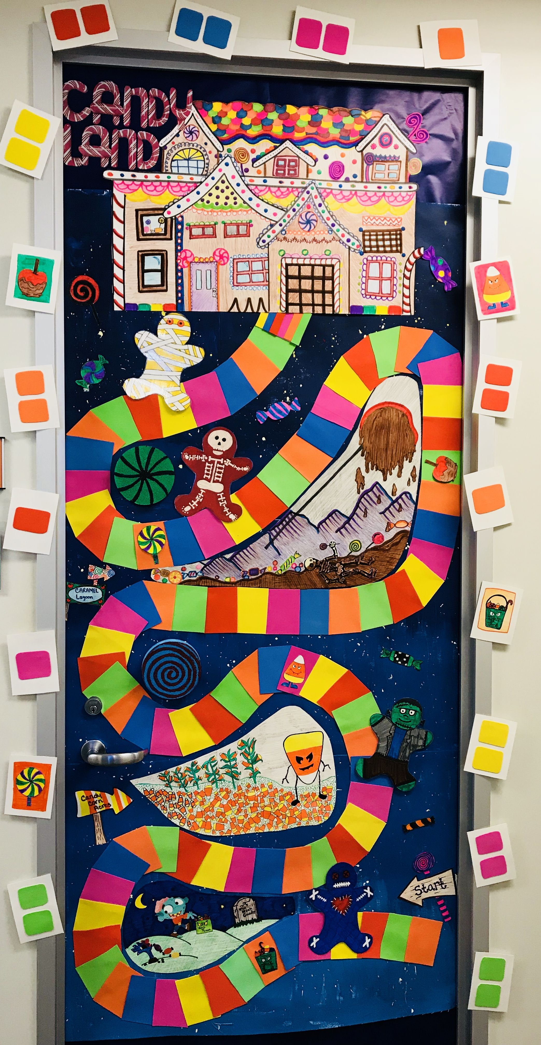 Candy Land Board Game Halloween Halloween Door Decoration Candy Land Style Board Game But Changed Halloween Door Decorations Halloween Scene Halloween Door