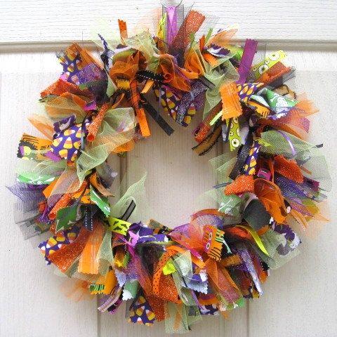 Halloween Wreath, Fall Wreath, Halloween Decoration, Fabric Wreath and Ribbon Wreath for Halloween. $70.00, via Etsy.
