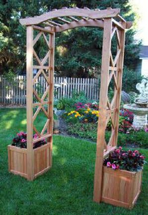 Arbor Spanish Cedar Only Shown W 2 17 Planter Boxes Gardening