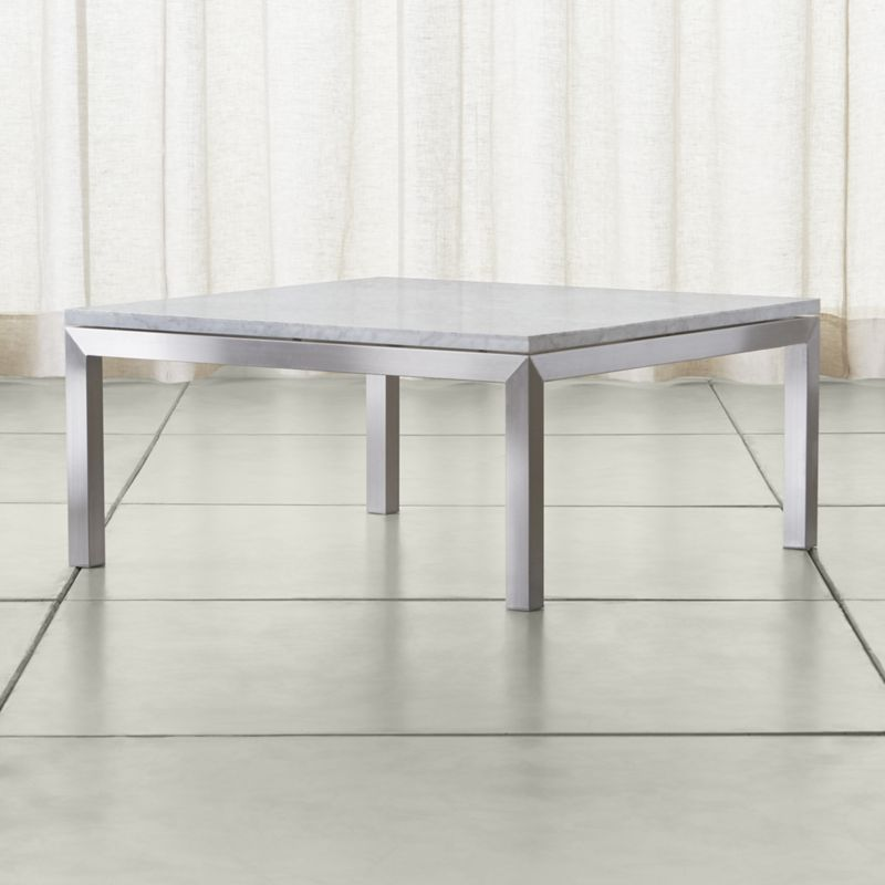 Shop Parsons White Marble Top Stainless Steel Base 36x36 Square