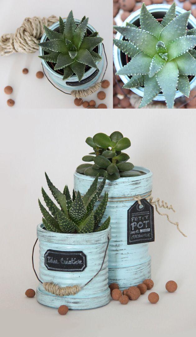 recycler des boites de conserve en pots de fleurs diy pinterest pots de fleurs conserve. Black Bedroom Furniture Sets. Home Design Ideas