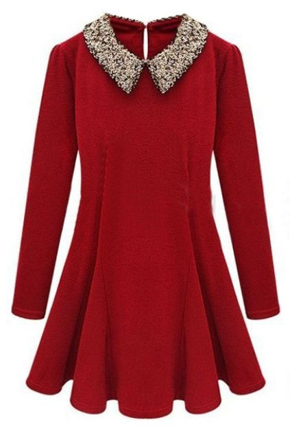 ROMWE | Buttoned Sequined Doll Collar Red Pleated Dress, The Latest Street Fashion