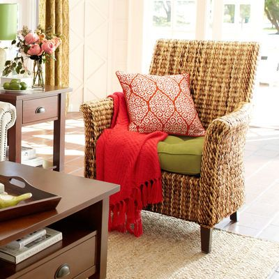 Wicker chair light weight easy to move around and can switch out cushions banana armchair - Easy to move furniture ...
