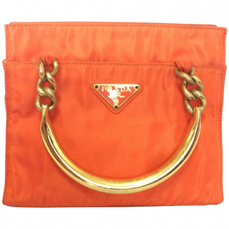 57602fb22ff123 Vintage PRADA orange nylon mini tote bag with golden chain and metallic  handles. | From