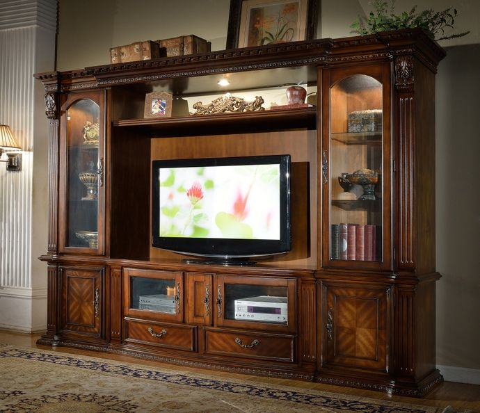 4 pc florenza collection dark wood finish tv entertainment center