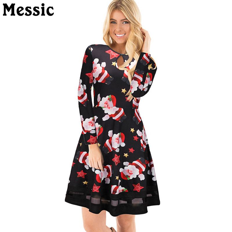 6dad042808f44 Messic Casual Tunic Tulle Patchwork Christmas Dress Women 2017 Winter Santa  Claus Mini Robe Femme Long