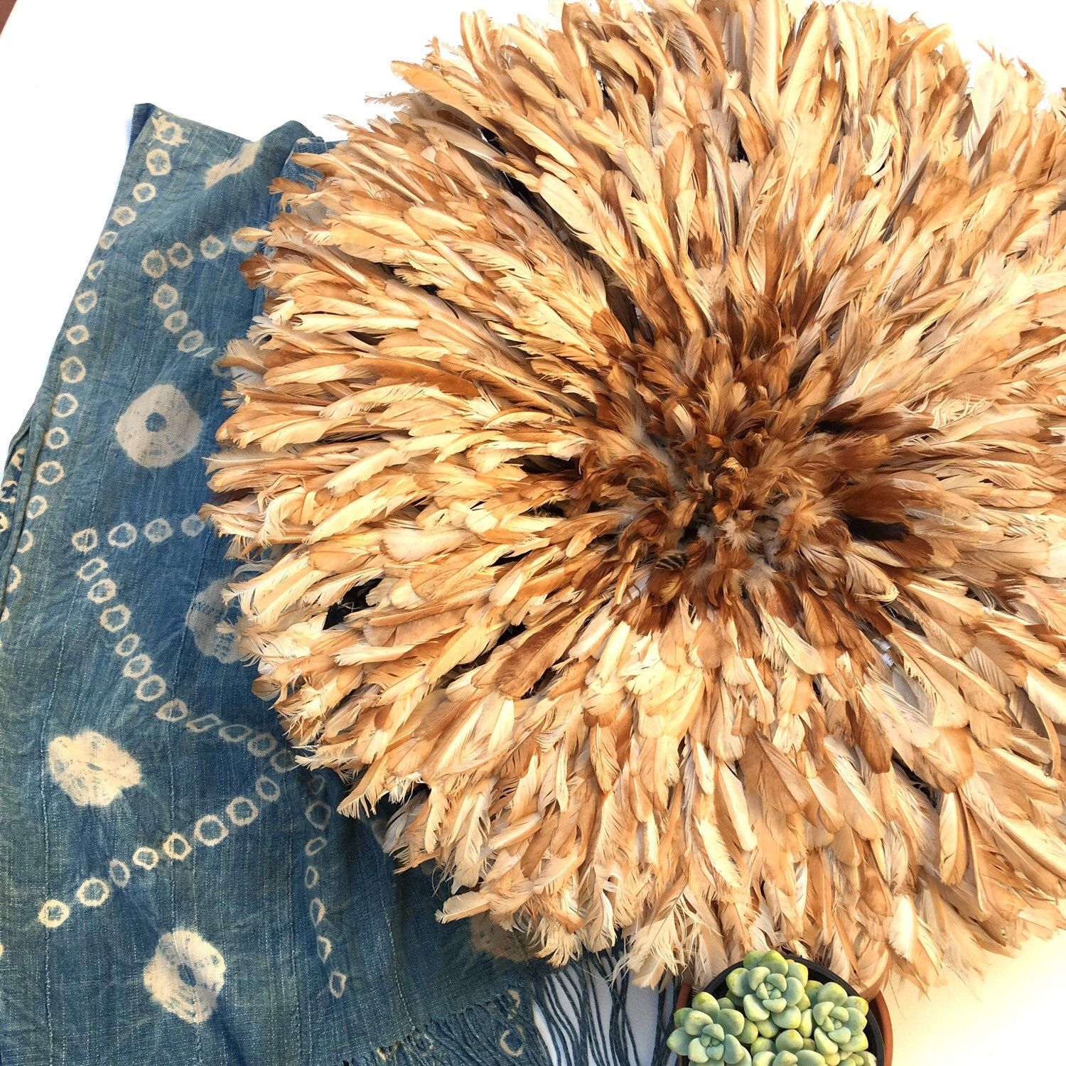 Juju feather hat from Africa just listed! Boho Wall Decor, Large size
