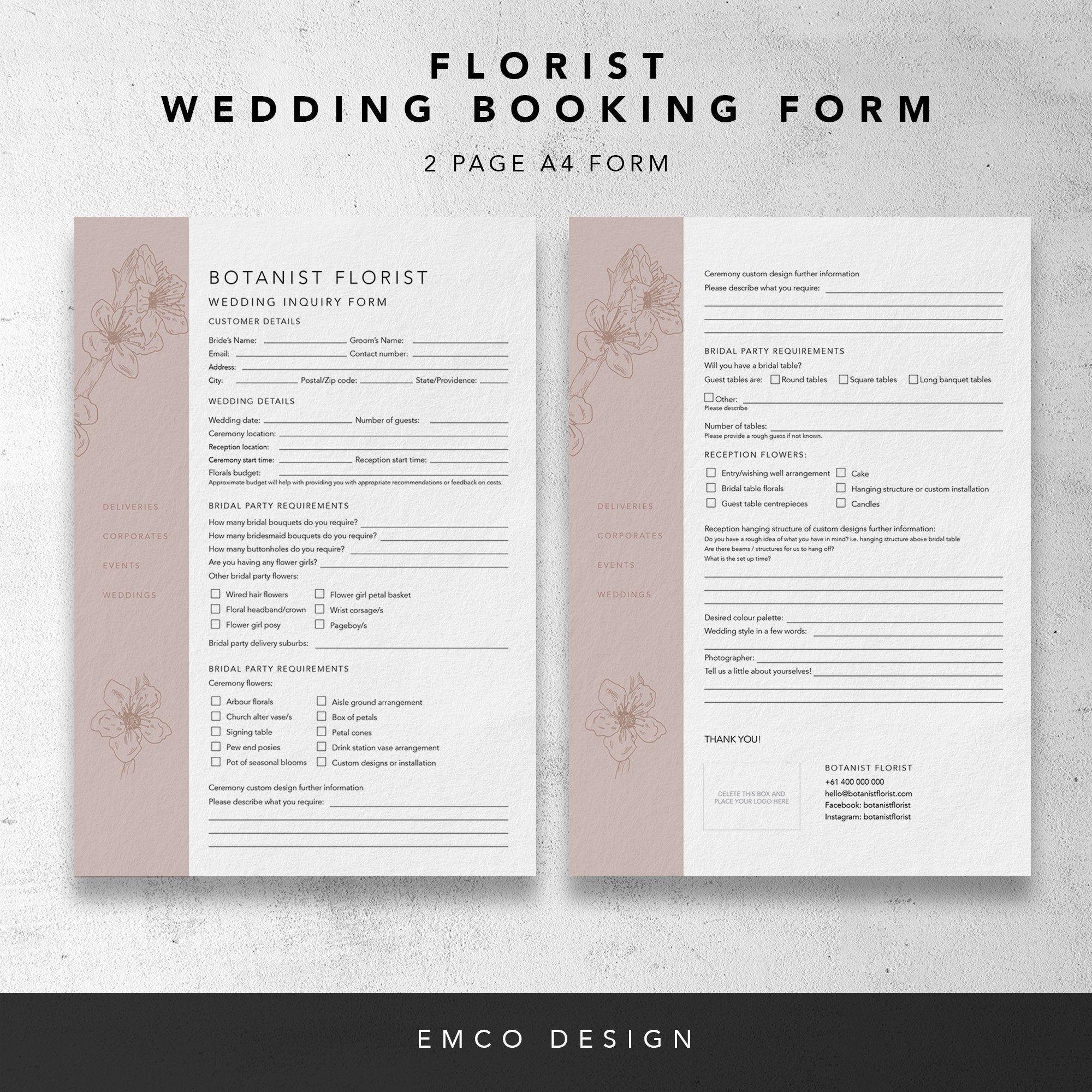 Florist Wedding Booking Form Florist Order Forms Wedding Order Forms Florist Templates Inquiry Form Invoice Design Photography Invoice Template Wedding Order Wedding flowers order form template