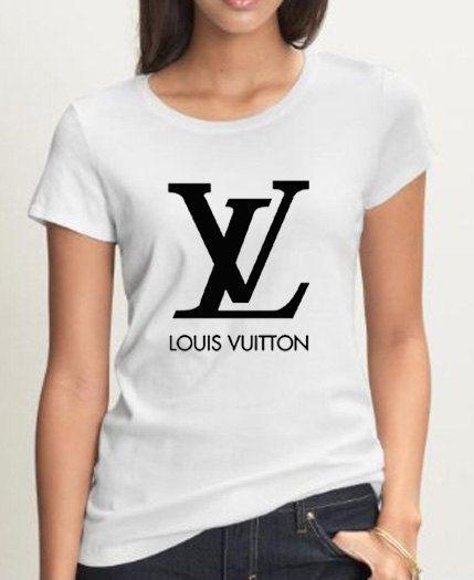 afd23cc3c6d8a3 New Louis Vuitton Logo Woman Black   White T Shirt Tee LV03.  19.99 ...