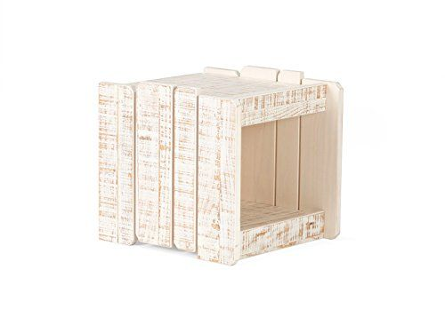 massivum Beistelltisch Safari 40x40x43 cm Pinie weiß lackiert - schlafzimmerschrank landhausstil weiß