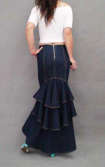 2e76e2ce23 Mujeres Lolita Denim Largo ceñido al cuerpo plisado de multi capa Falda  swing cola de pescado
