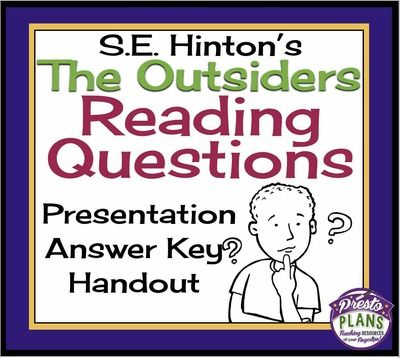 OUTSIDERS Reading Questions Answer Key Printable