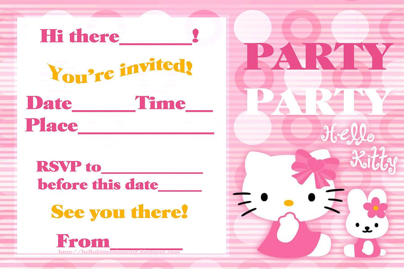 Hello Kitty Coloring Pages Hello Kitty Invitations Birthday Card Template Free Cat Birthday Party Invitations