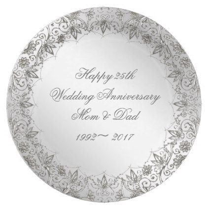 Flourish Silver 25th Anniversary Paper Plate - kitchen gifts diy ideas decor special unique inidual customized  sc 1 st  Pinterest & Flourish Silver 25th Anniversary Paper Plate | 25th anniversary ...