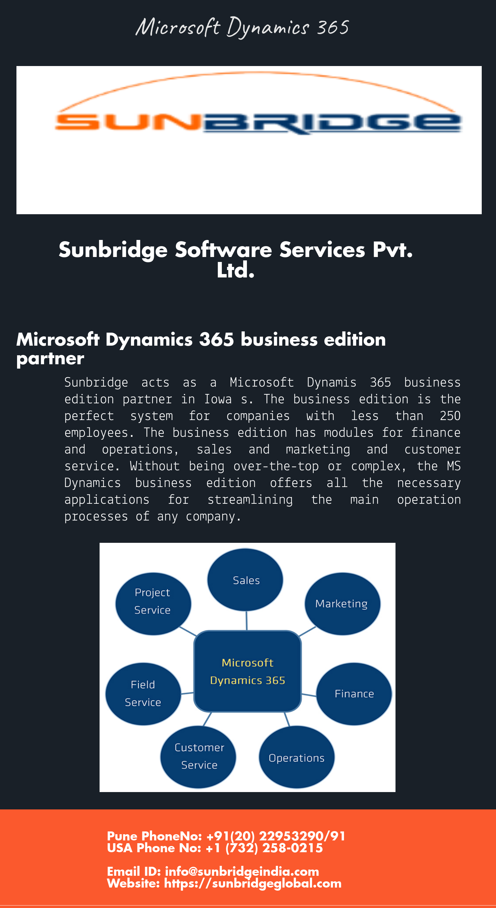Sunbridge acts as a Microsoft Dynamis 365 business edition