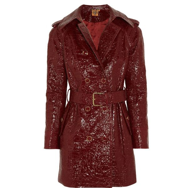 Tory Burch Darlene cracked glossed-cotton trench coat ($455) ❤ liked on Polyvore featuring outerwear, coats, burgundy, red coat, tory burch coat, shiny coat, waist belt and red waist belt
