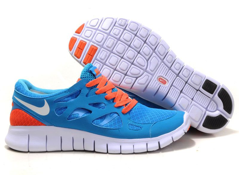 Nike Free 2 0 Running Shoes Dark Blue Orange White