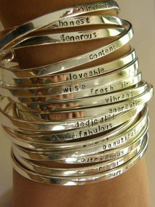 Positive Words On Silver Bracelets Look Shiny Things