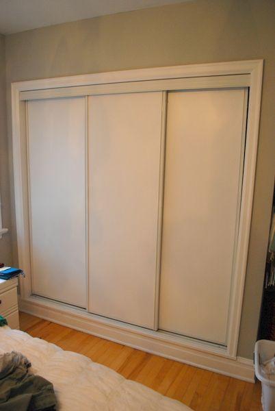 Painted Sliding Closet Doors Faux Trim Effect Sliding Closet