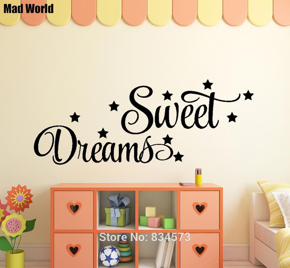 mad world swirly sweet dreams quote wall art stickers decal home diy