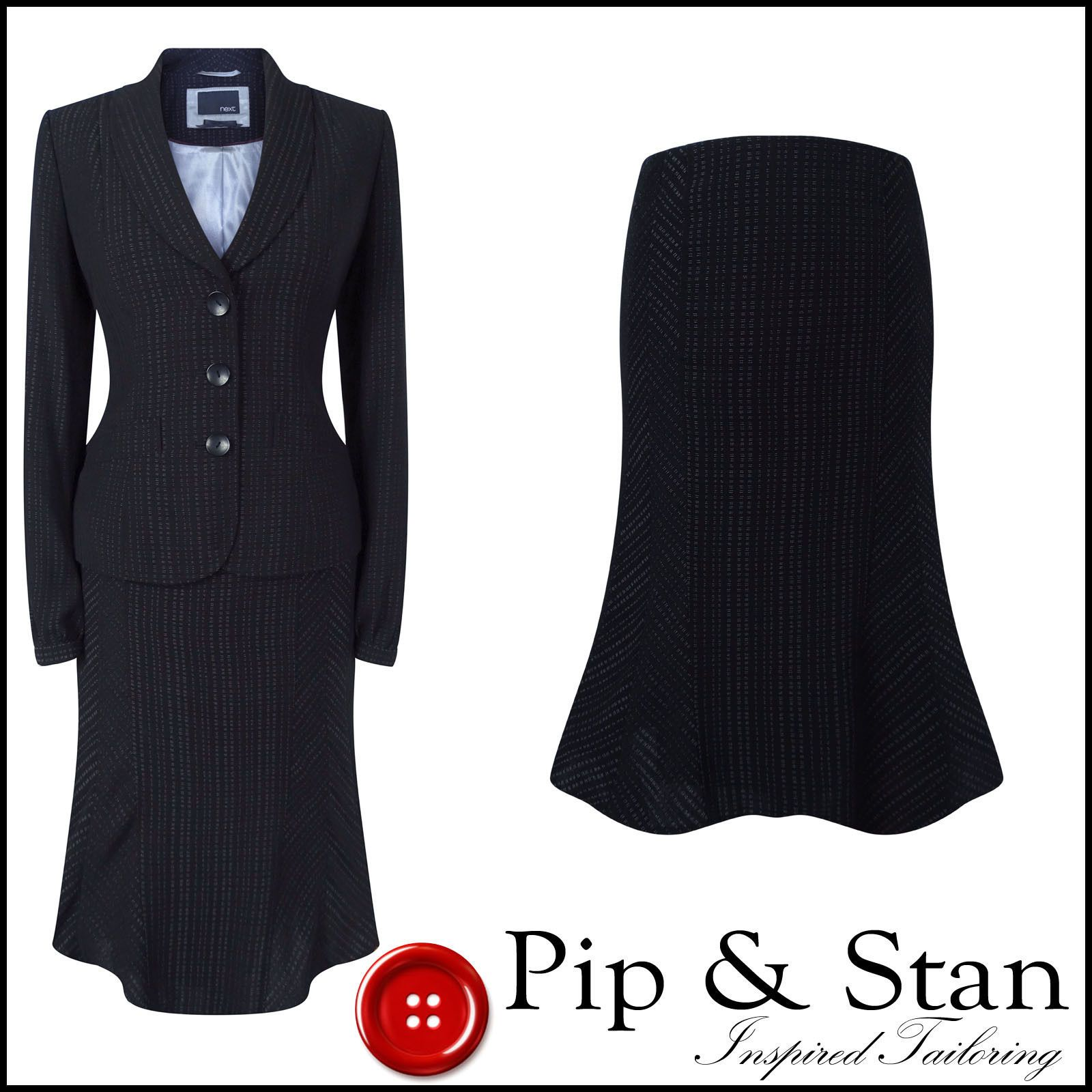 New Next Uk8 6 Us4 2 Black Pinstripe Skirt Suit Womens Woman Ladies